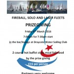 Fireball, Solo and Laser Fleets Prize Giving