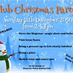 Club Christmas Party – Sunday 11th December from 2:45pm